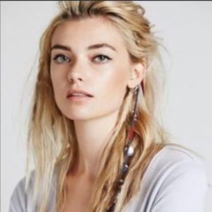 Free People Yarn Feather Charms Hair Clip Boho